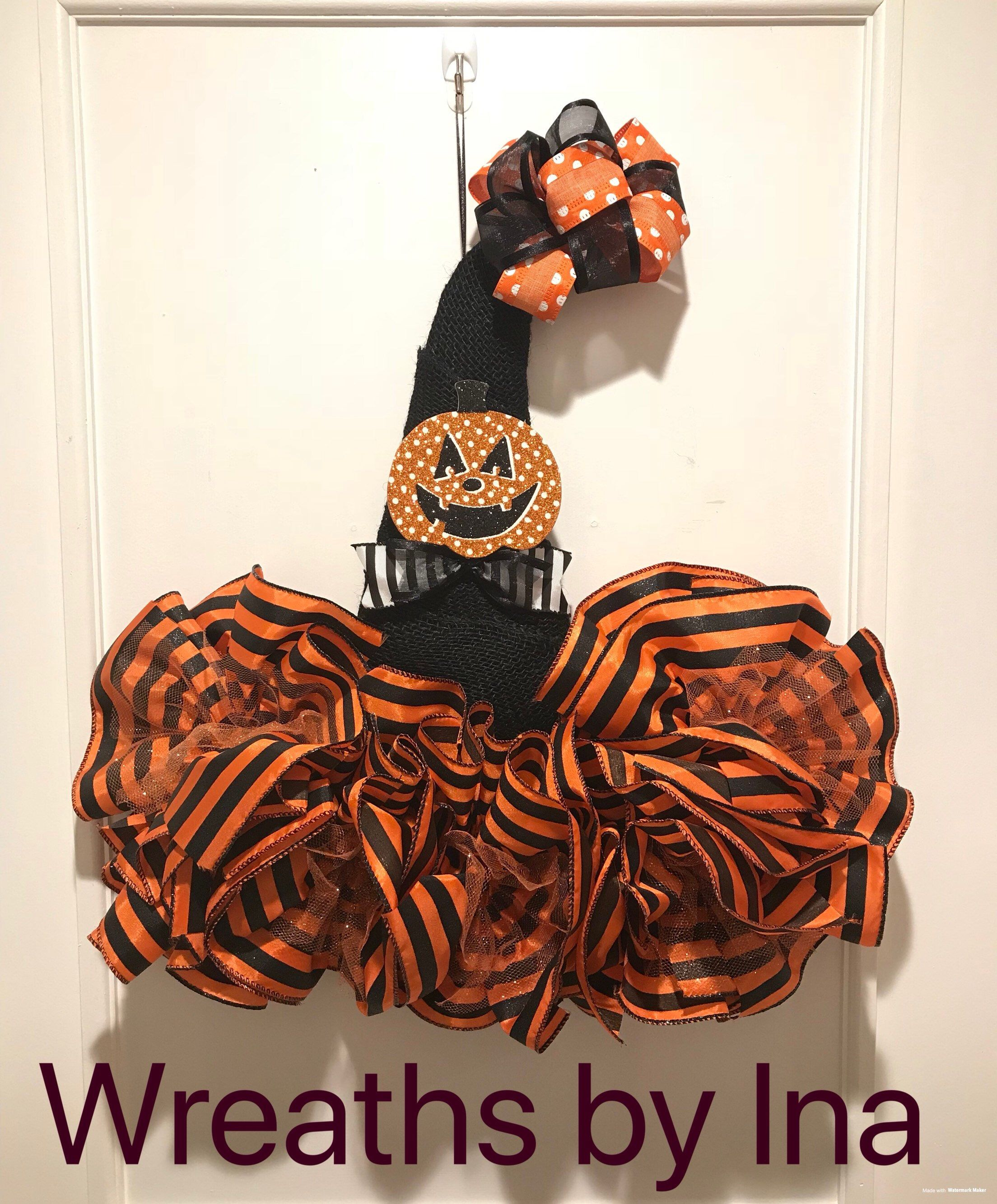 b6ff0209 Excited to share this item from my #etsy shop: Witch Hat Door Hanger,  Whimsical Halloween Door Hanger, jack o Lantern witch hat