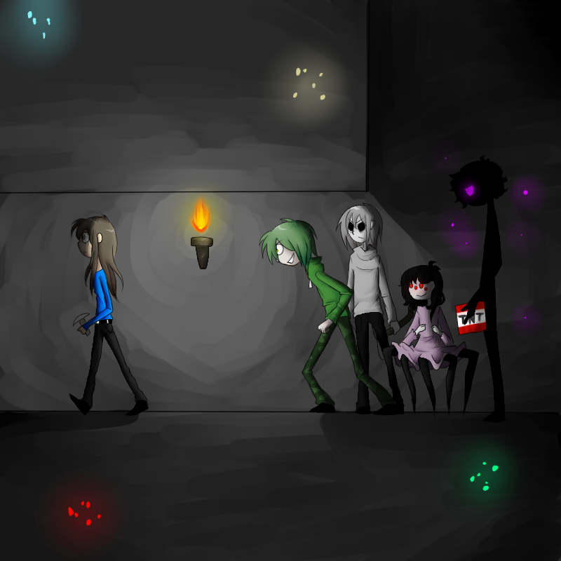 minecraft imágenes Enderman girl and Creeper girl ...