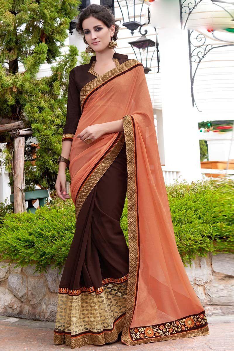 Buy Orange Georgette Designer Saree Online in low price at Variation. Huge collection of Designer Sarees for Wedding. #designer #designersarees #sarees #onlineshopping #latest #lowprice #variation. To see more - https://www.variationfashion.com/collections/designer-sarees