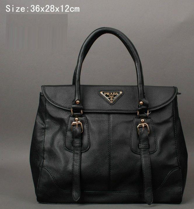 91b17f79dfa1b0 Cheap Prada Calf Leather Gold Studs Handbag Black Pin It PRADA15523 ...