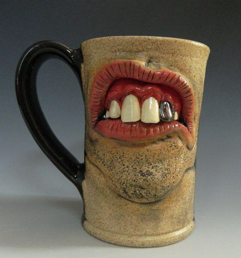 Backwoods Dental Mug With Chrome Tooth For Sale Pottery Mugs Mugs Face Mug