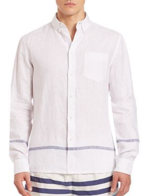 SOLID AND STRIPED Linen Button-Down Shirt. #solidandstriped #cloth #sportshirt