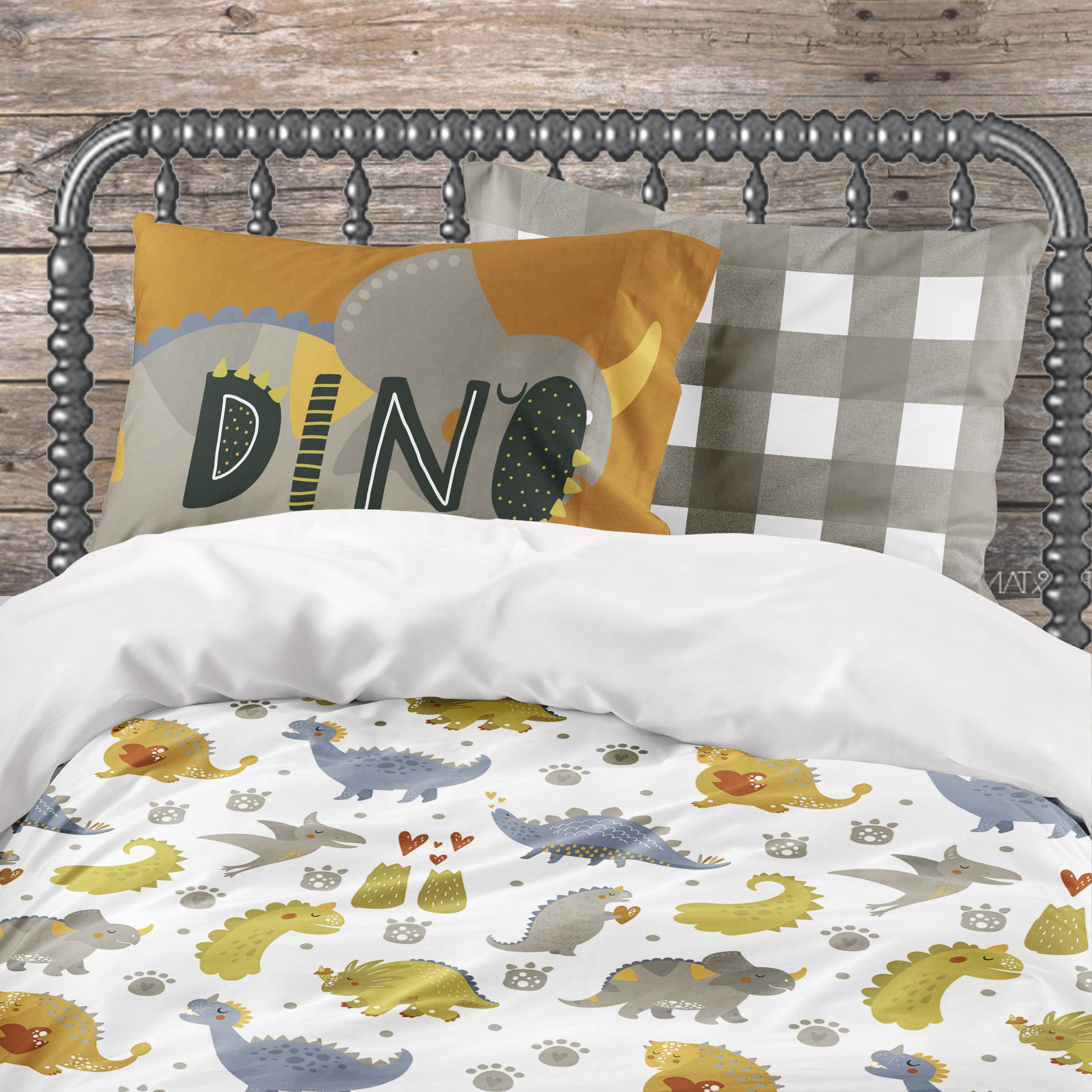 Dinosaur Bedding Set For Toddler Twin And Queen Size Bed Dino Comforter Duvet Cover Plaid Sheet Set Pillowcases In 2020 Dinosaur Bedding Set Toddler Bed Set Dinosaur Bedding