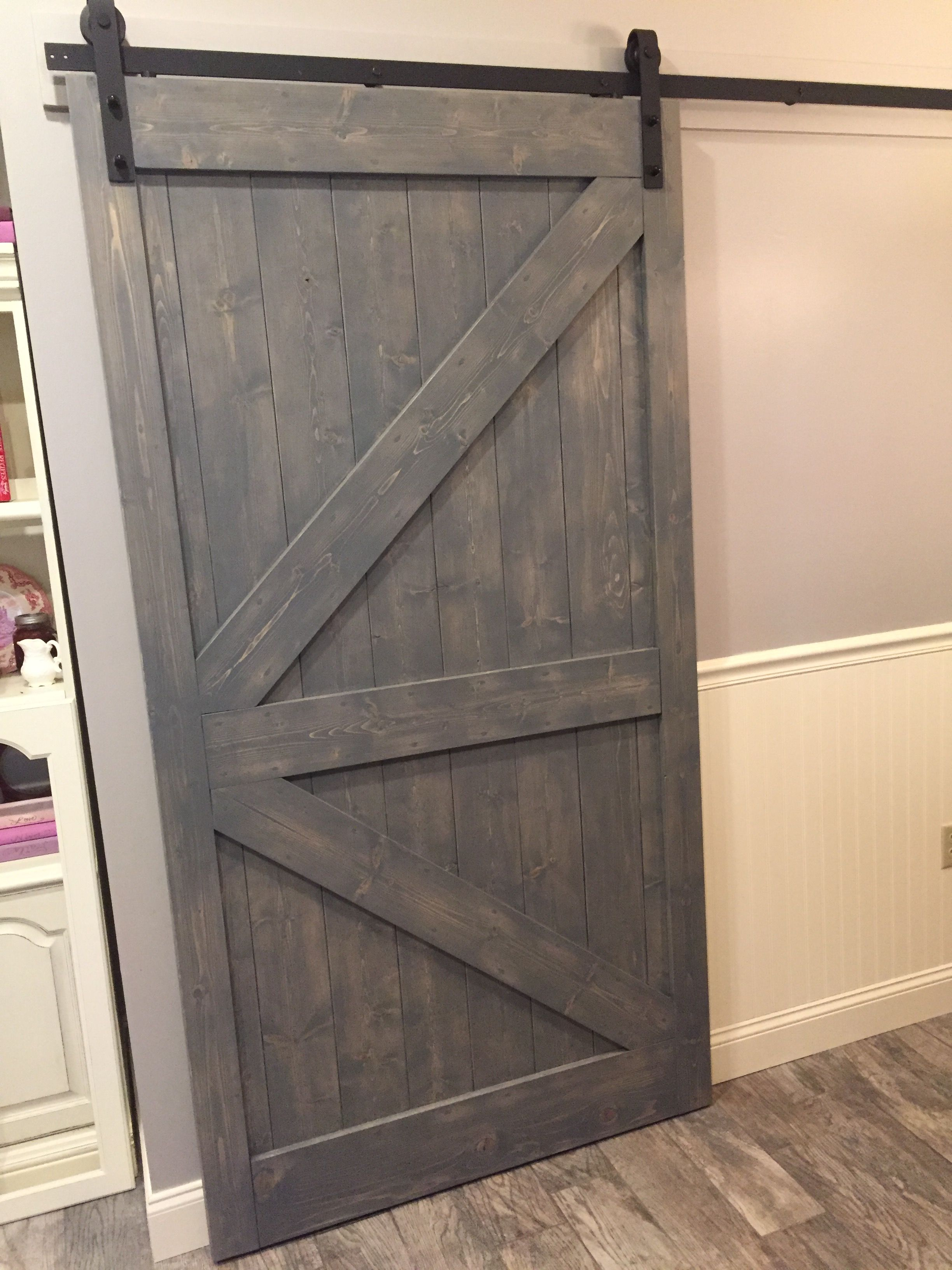 Husband Hand Crafted Barn Door Out Of Poplar Boards Hanging Hardware From Home Depot I Stained In Weathered Barn Wo Barn Door Furniture Restoration Barn Wood