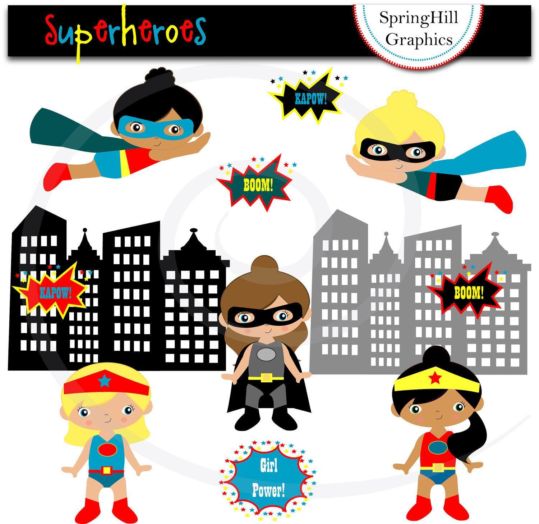 Superhero Girls Digital Clip Art Web Design, Card Making ...