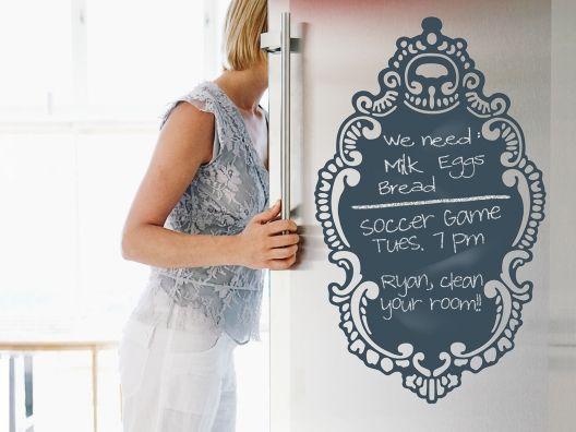 too cute! chalkboard decal for a fridge