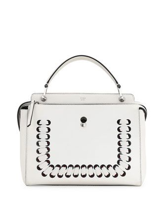 DOTCOM Medium Whipstitched Leather Satchel Bag, White by Fendi at Neiman Marcus.