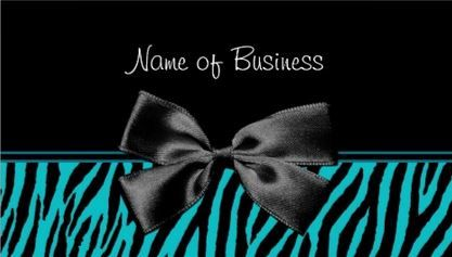 Trendy Black And Teal Zebra Print With Ribbon Business Card - $21.95