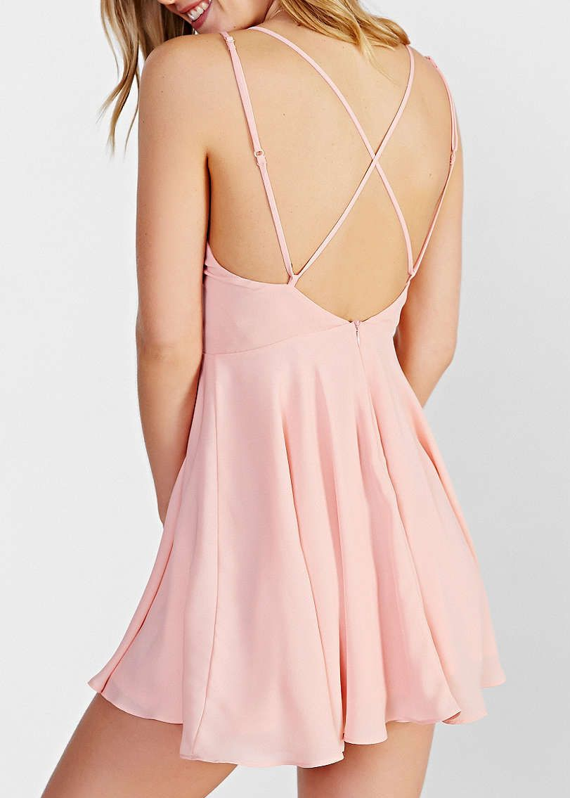 Shop Pink Spaghetti Strap Cross Back Dress online. Sheinside ...