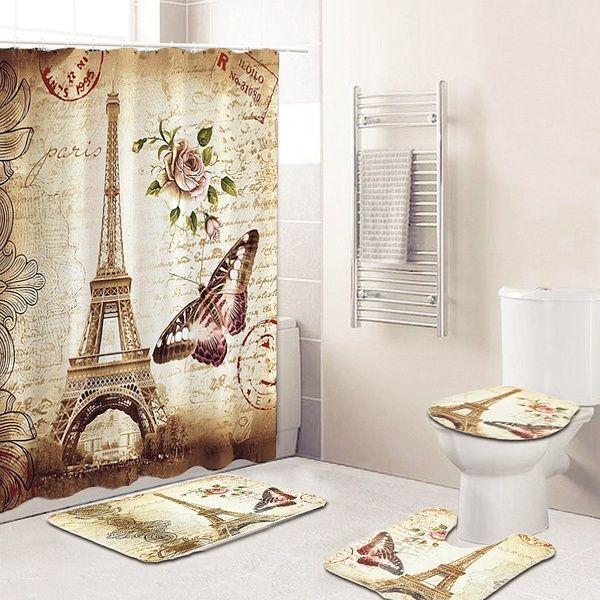3pcs Anti Slip Soft Flannel Bathroom Rugs Set Mildew Proof Waterproof Shower Curtain Full Set Wonderful France