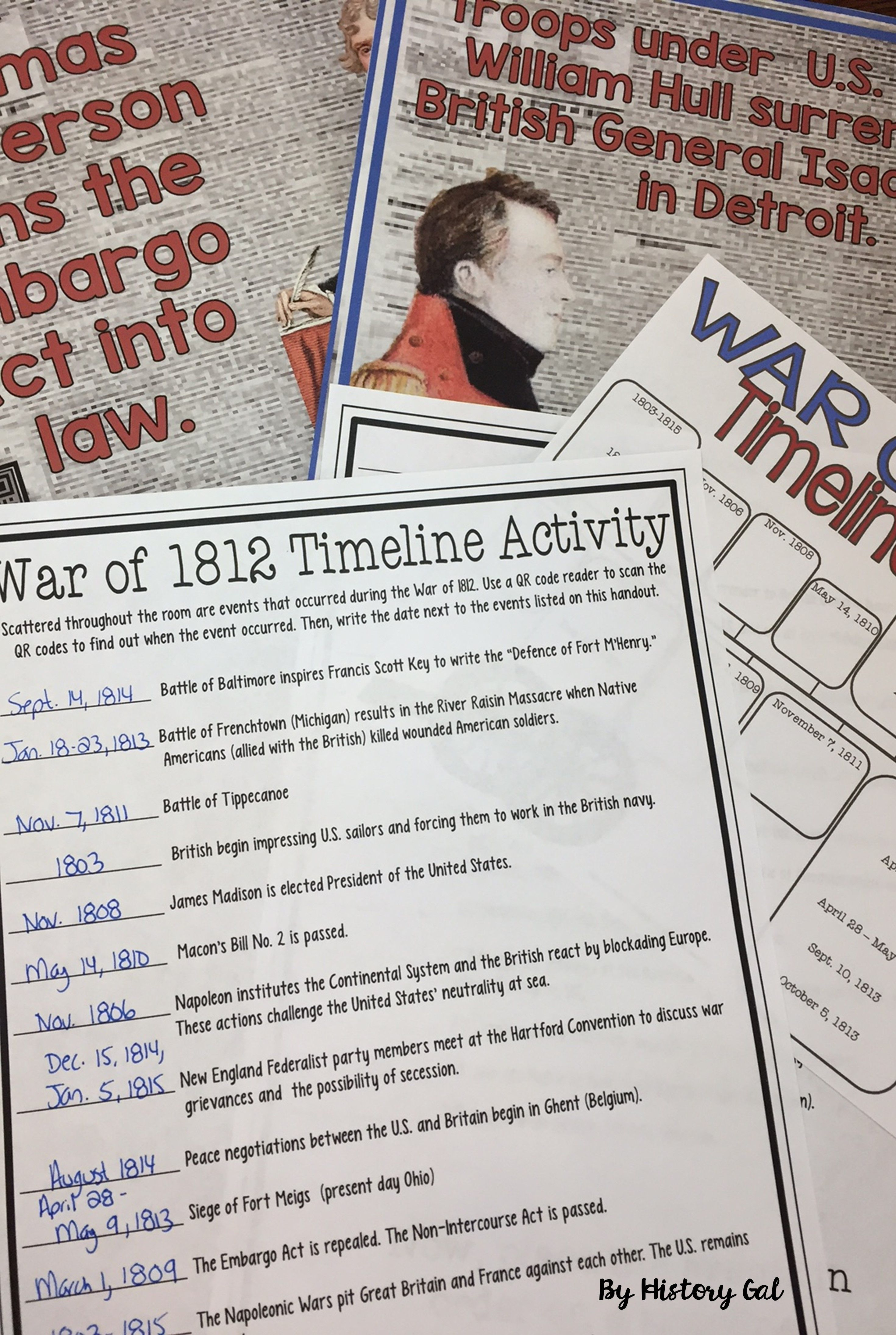 War of 1812 Timeline Activity (With and Without QR Codes)   Teaching us  history [ 4380 x 2940 Pixel ]
