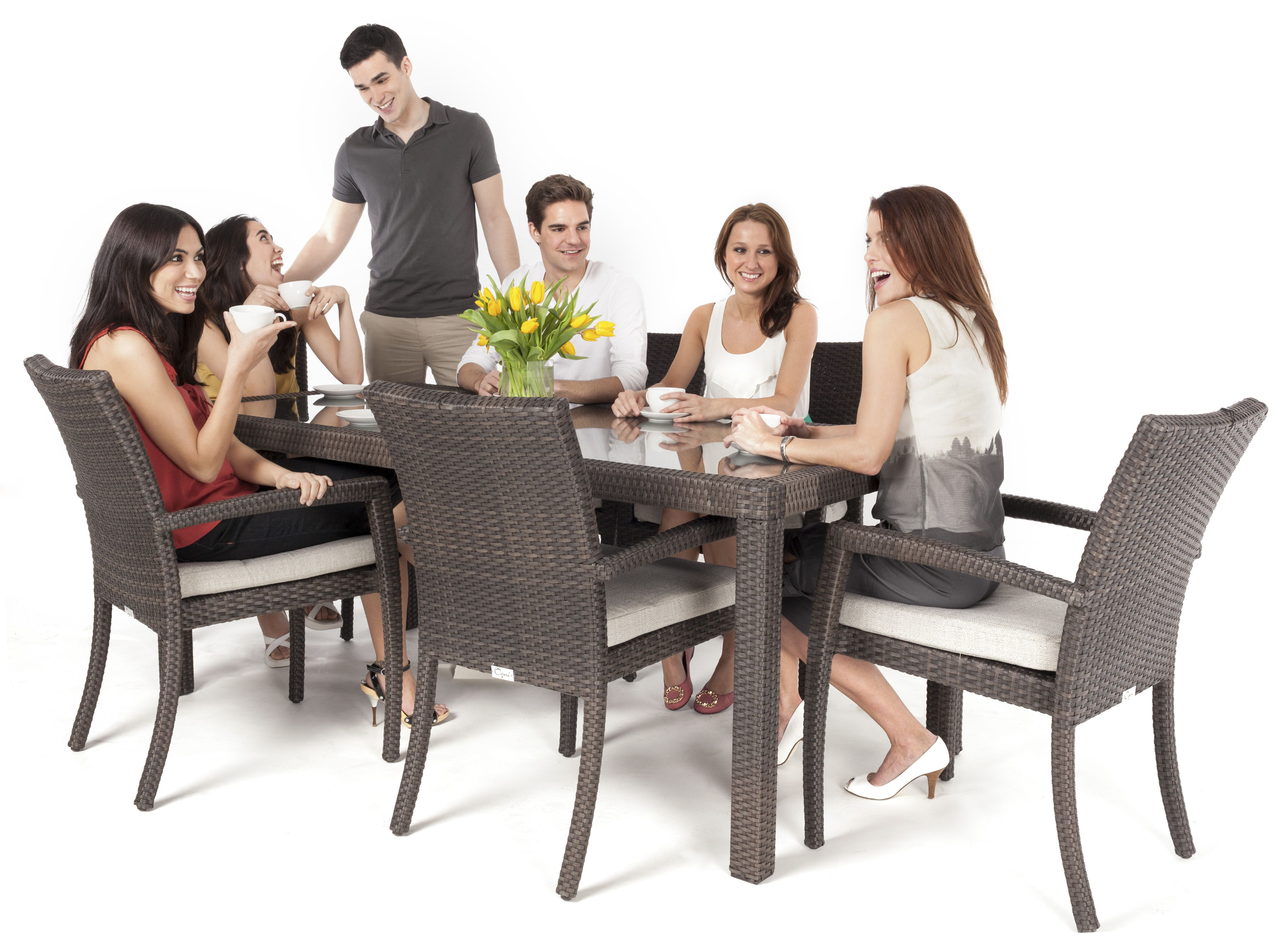Modern Wicker Style Glass Topped Dining Table Seats 6 People In
