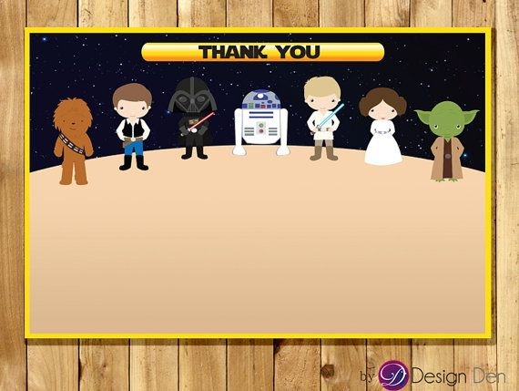 Star Wars Birthday Greeting Free ~ Galaxy wars birthday party matching thank you card star wars thank