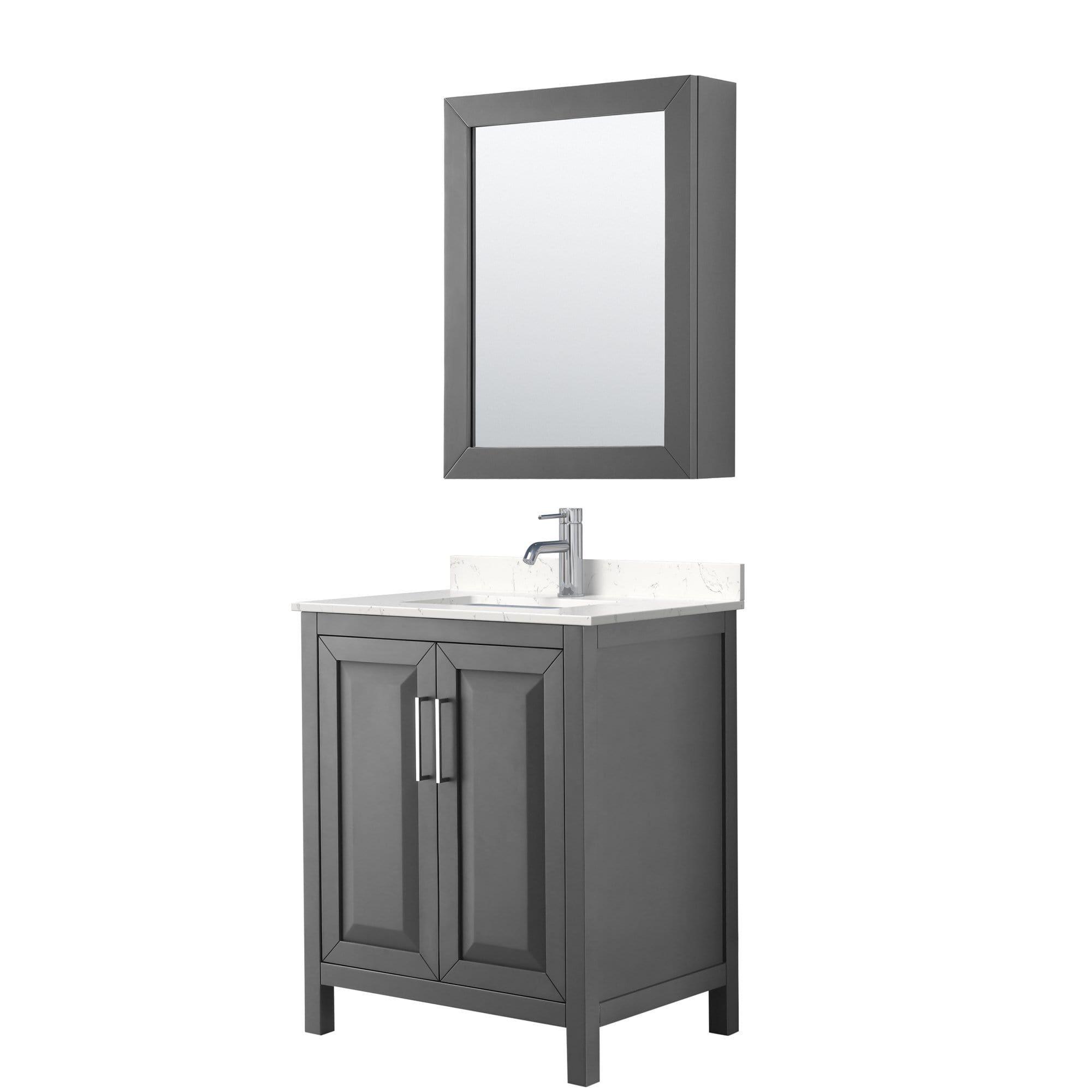 Daria 30 Inch Single Bathroom Vanity in Dark Gray, Light-Vein Carrara Cultured Marble Countertop, Undermount Square Sink, Medicine Cabinet