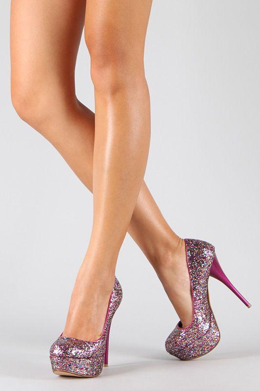 Fuchsia Pink Black Glitter Lace Almond Toe High Stiletto Heel Platform Pump