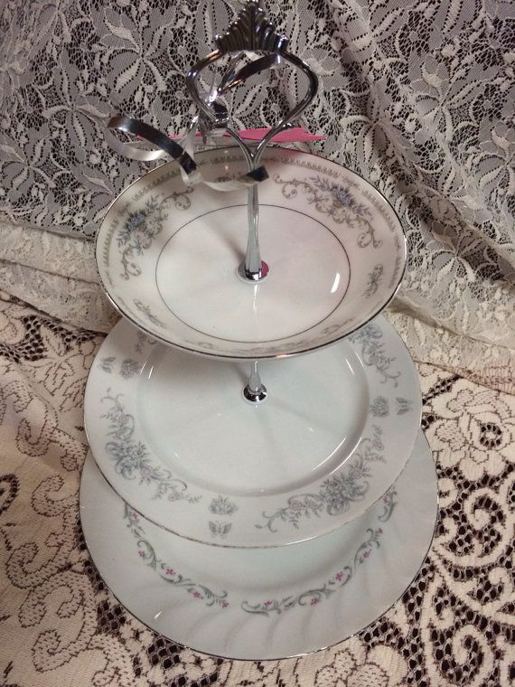 3 Tier China Plate Stand Dessert Serving Dish (multi-patterned china with silver accents) Wedding Bridal Shower All Occasions on Etsy $24.99 & 3 Tier China Plate Stand Dessert Serving Dish (multi-patterned china ...