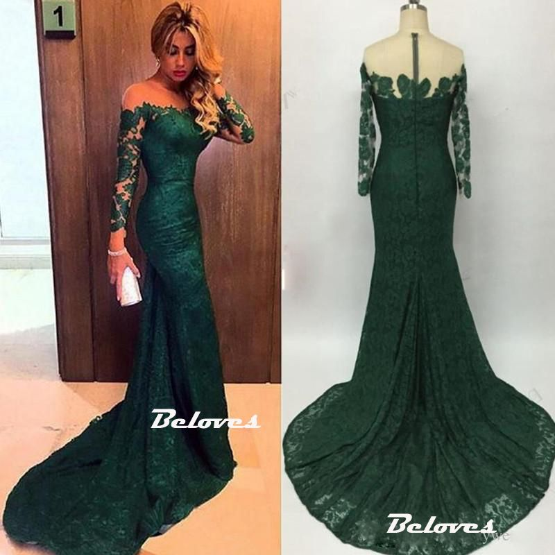 604d0ff26bc Dark Green Illusion Off The Shoulder Lace Mermaid Prom Dress With Long  Sleeve