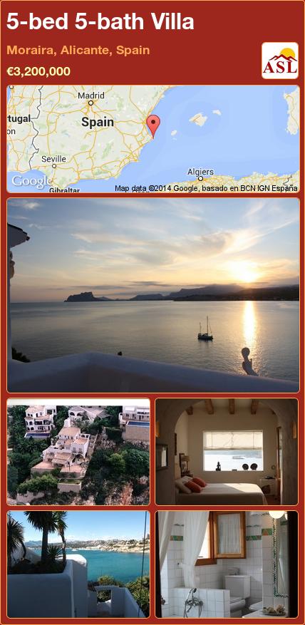5 bed 5 bath Villa in Moraira Alicante Spain ■€3 200 000