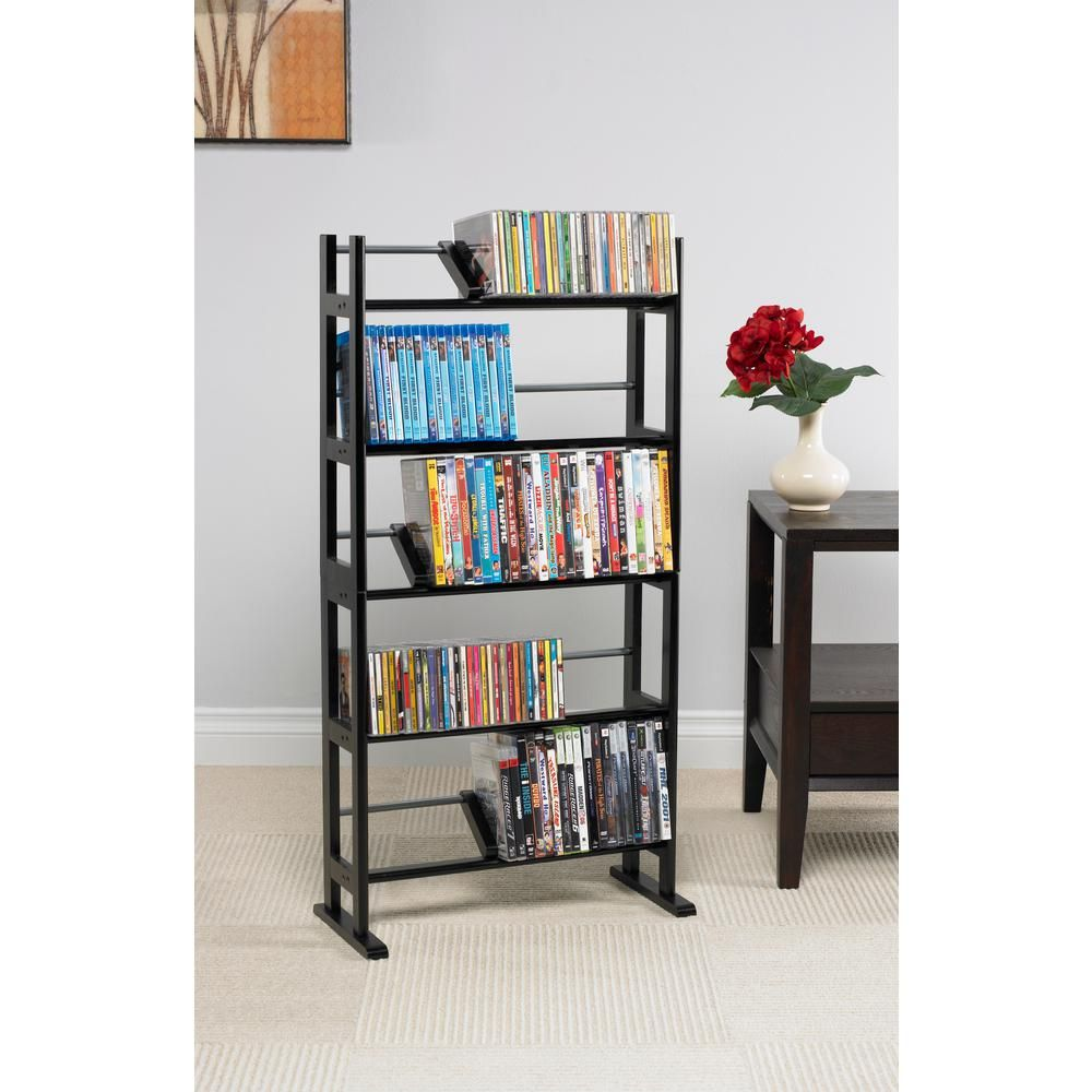 Atlantic Element Gloss Media Storage Dark Brown Wood Media Rack