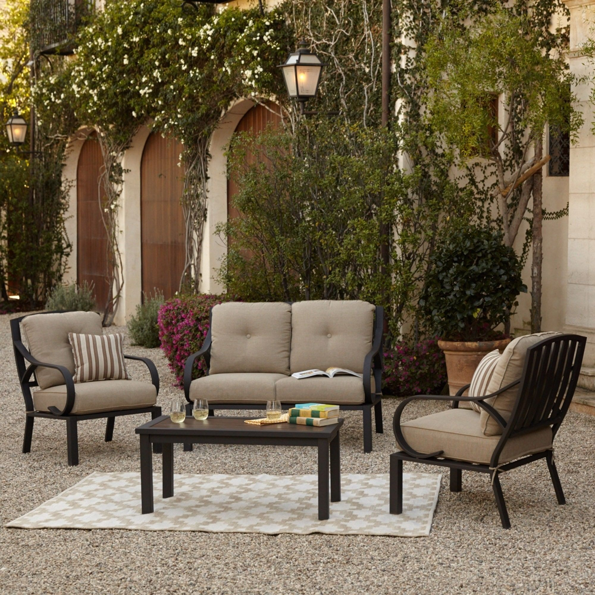Royal norman outdoor piece seating furniture set with loveseat