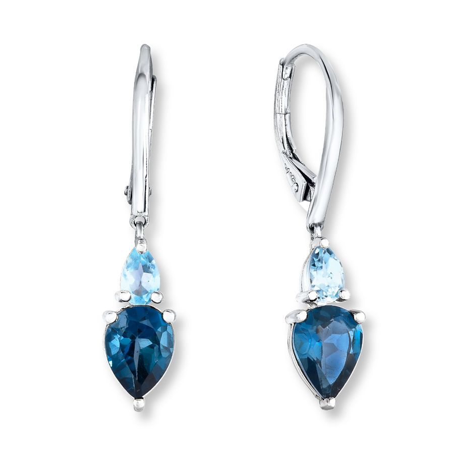 Each Of These Exhilarating Earrings For Her Features Pear Cut Light And Dark Blue Topaz