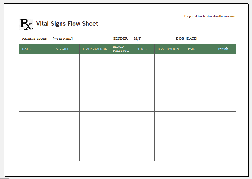 Daily Weekly Monthly Vital Signs Sheet Printable Medical Forms Letters Sheets Vital Signs Flow Sheet Vital Signs Chart