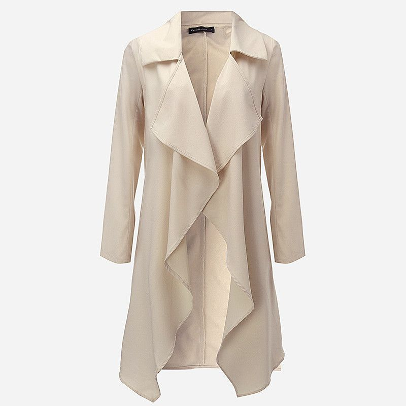 Lapel Long Sleeve Trench Coat Ladies Open Front Tie Waist Casual