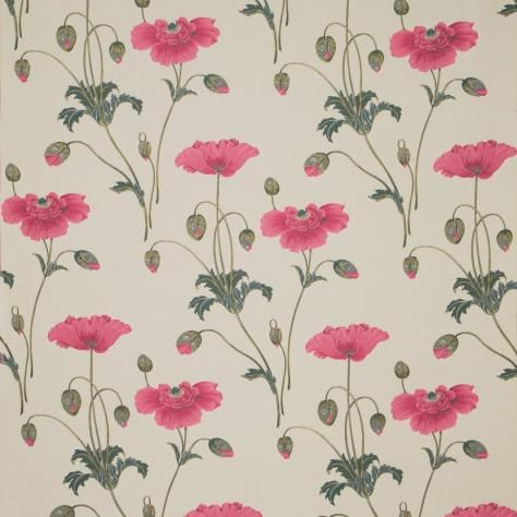 Persian Poppy Fabric Linen/Pink (DORIPE304) - Sanderson Oriental Poppy Fabrics Collection