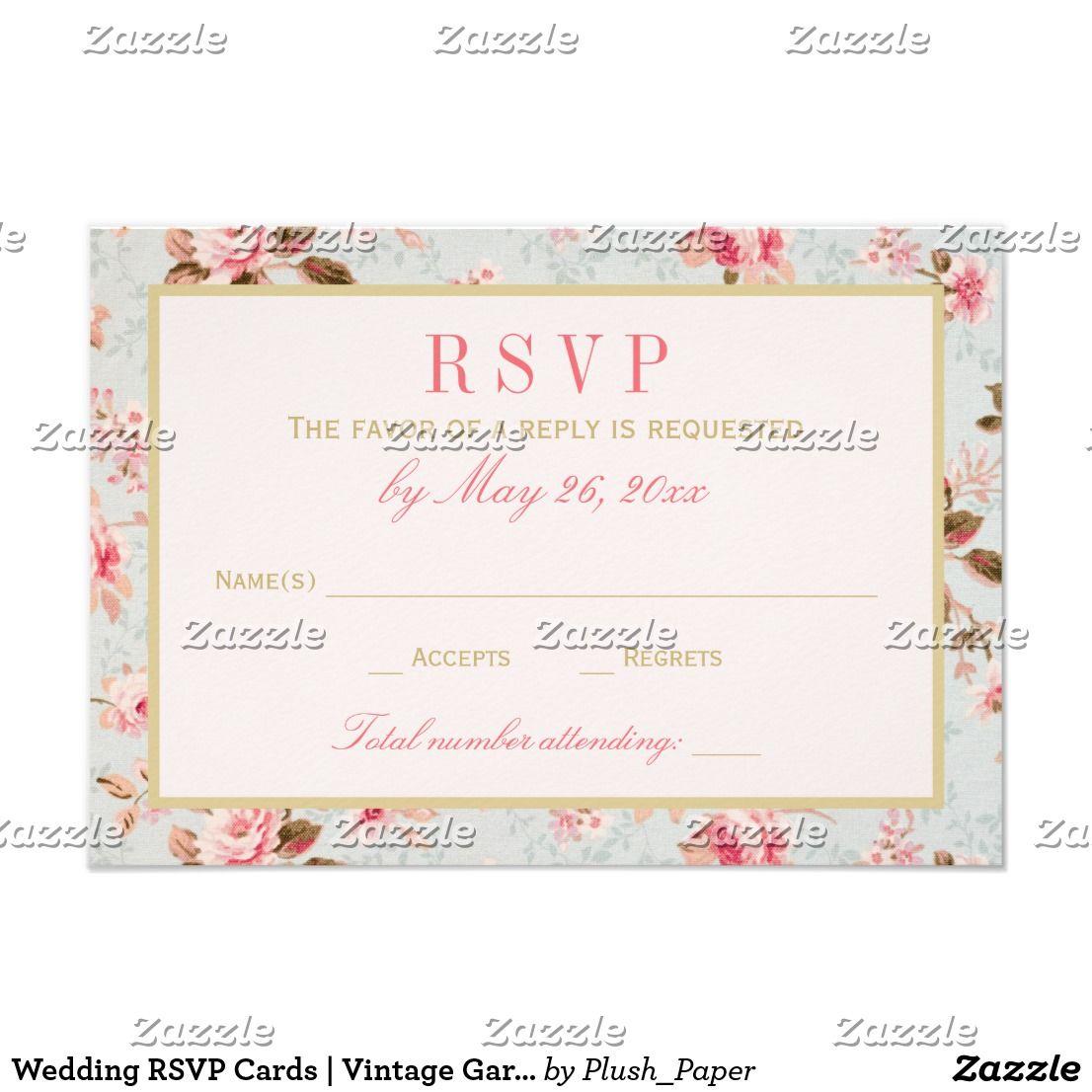 Wedding RSVP Cards | Vintage Garden Party | Vintage garden parties ...