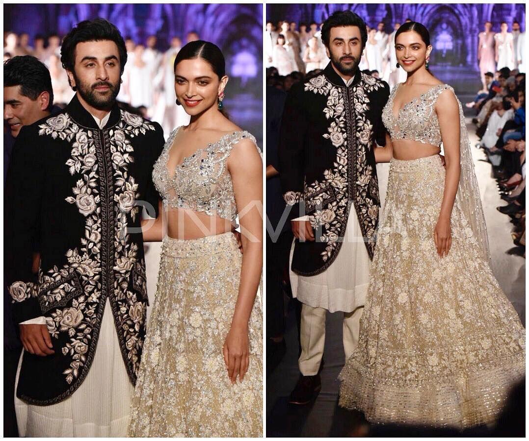 Ranbir Kapoor And Deepika Padukone Make Stunning Showstoppers At The Mijwan Fashion Show Follow Pinkvilla Saree Dress Bollywood Fashion Indian Outfits