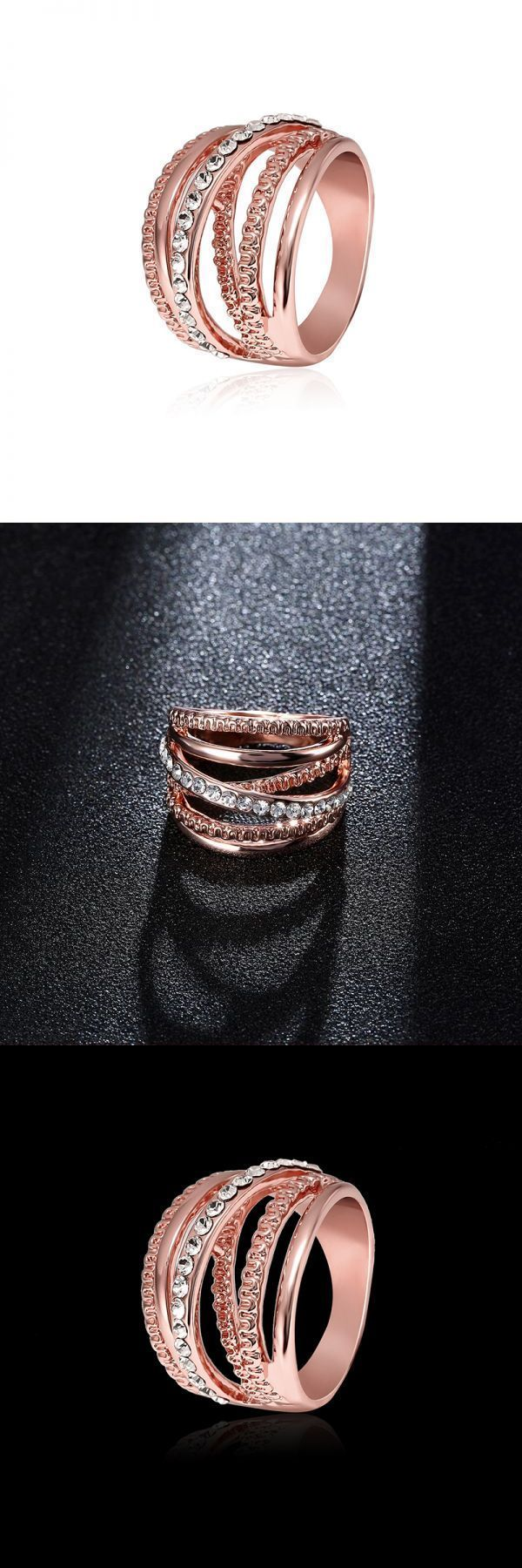 Rings Casual Hollow Out Interlaced Line Stylish Engagement Ring Rose Gold Plated Women Jewelry 8