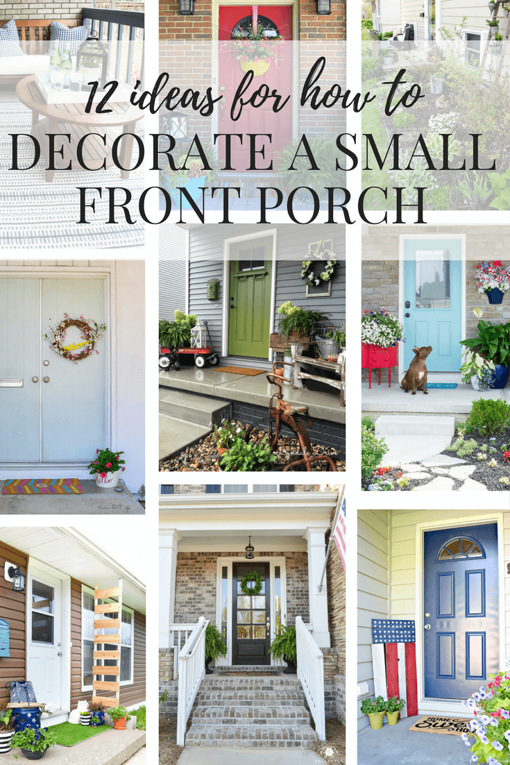 Ideas for decorating a small porch or front entry. Easy DIY projects and fun ideas for how to decorate your front porch. #smallporchdecorating