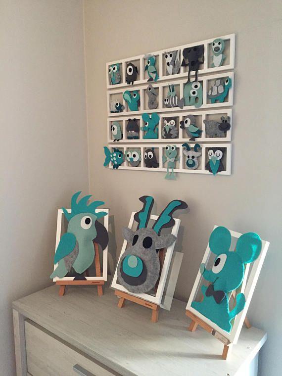 Chambre Bebe Decoration Murale Figurines Gris Vert D Eau Avec