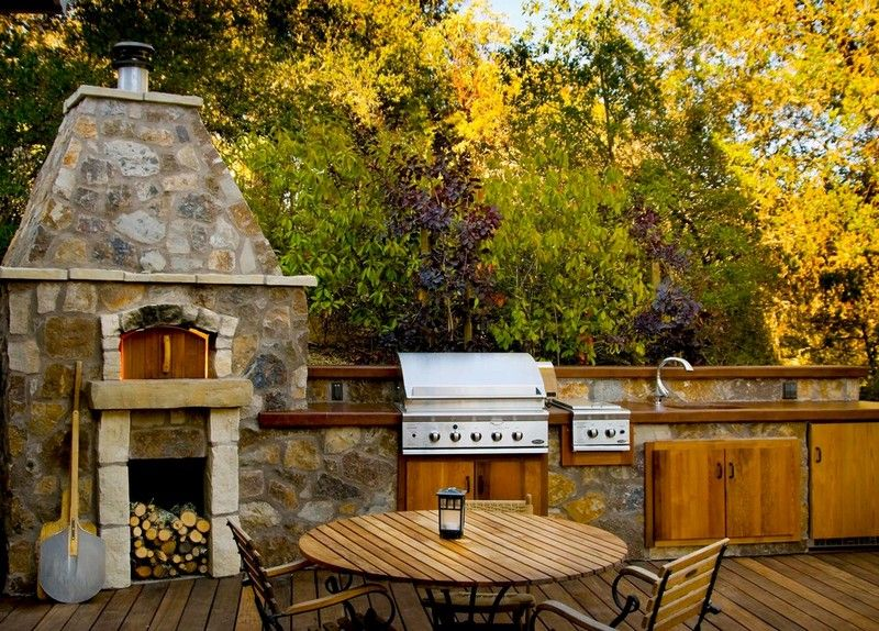 Gartengestaltung mit Pizzaofen und Gartengrill aus Edelstahl - edelstahl outdoor küche