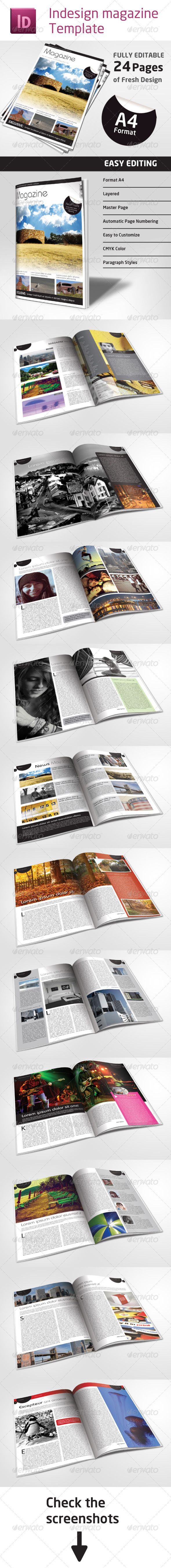 24 Pages Magazine Template in A4 Format #GraphicRiver 24 pages Indesign Magazine Template in A4 format. This Indesign fresh, nice looking magazine template contains fully editable 24 pages, which can fit any needs. (company, town, agency, organization or any other institution …) Features: - 24 fully editable pages - Double page layout - Master pages and automatic page numbering - A4 Format (210×297mm or 8.27×11.69) - All colors in CMYK (text and objects) - All colors, text and objects are…