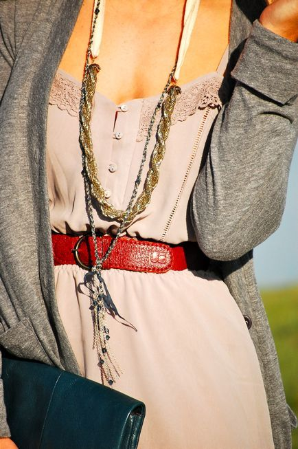 Long layered necklaces.