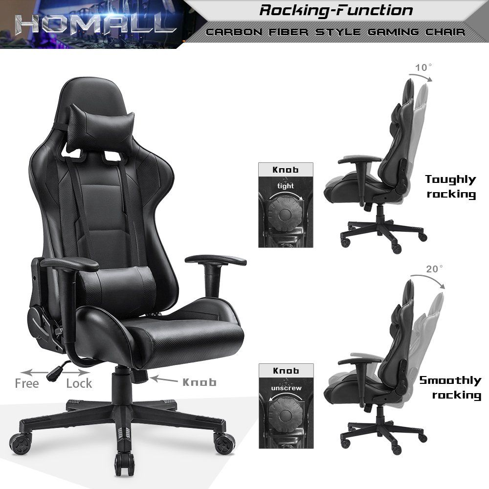 Terrific Homall Gaming Office Chair Carbon Fiber Style Design Pu Caraccident5 Cool Chair Designs And Ideas Caraccident5Info