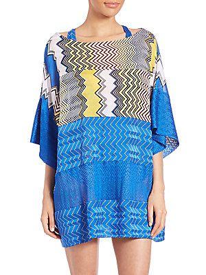 Missoni Mare Printed Short Tunic - Blue