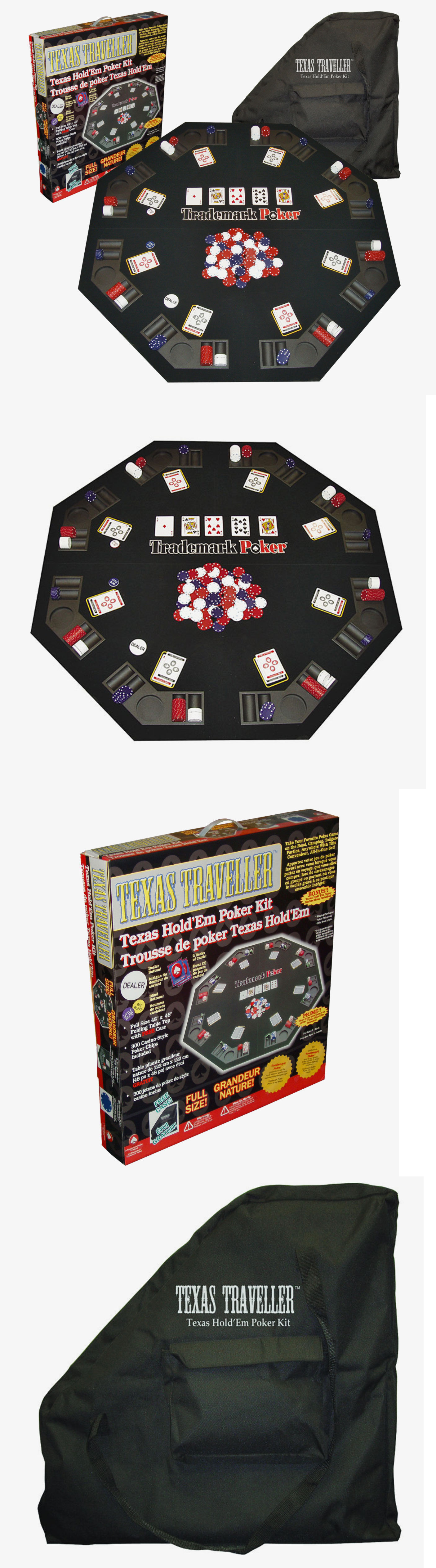 Card Tables And Tabletops 166572: Folding Poker Table Top Octagon Texas  Holdem 300 Chips Set