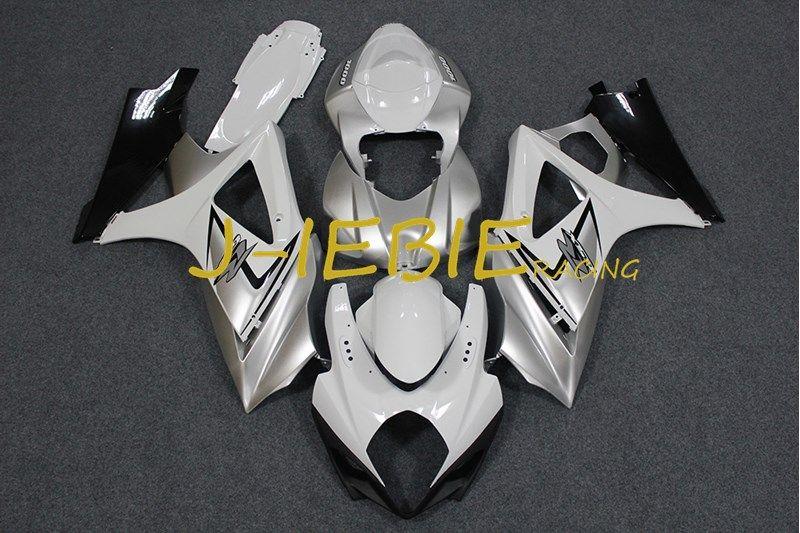 Silver Black White Injection Fairing Body Work Frame Kit For Suzuki Gsxr 1000 Gsxr1000 K7 2007 2008 Suzuki Gsxr1000 Suzuki Gsxr Motorcycle Accessories