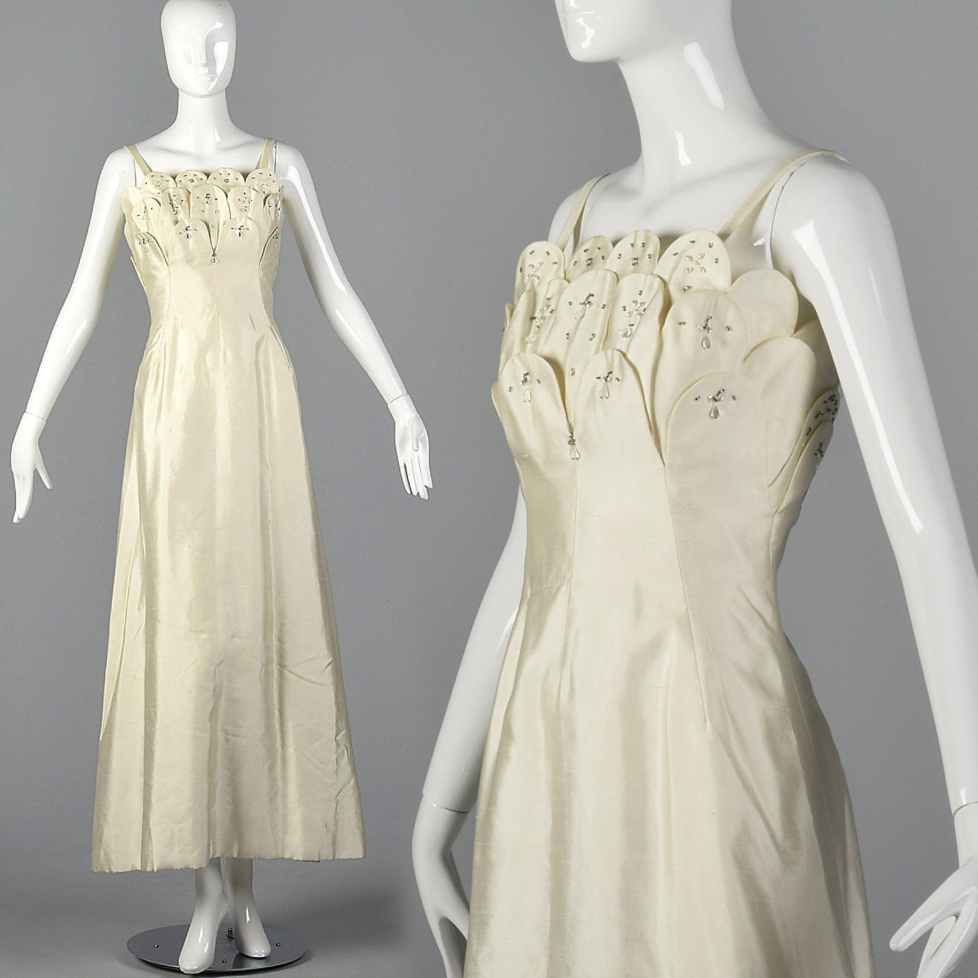 1960s Off White Formal Evening Gown or Wedding Dress Fit