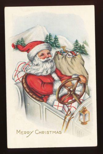 Santa Claus Driving Car with Toy Sack Vintage Emb Christmas Postcard DDD386 | eBay