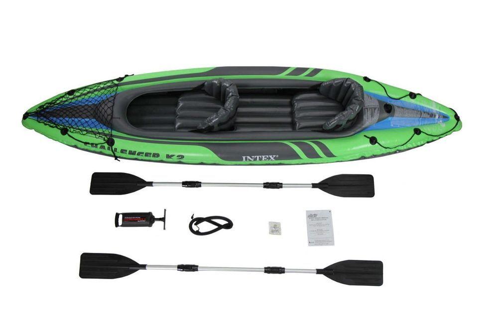 Best K2 Kayak 2-Person Inflatable Kayak Set Aluminum Oars High Output Air Pump #Intex