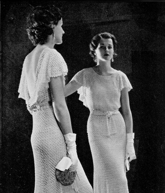 Vintage 30s Crochet IRISH Evening Dress Crocheted By