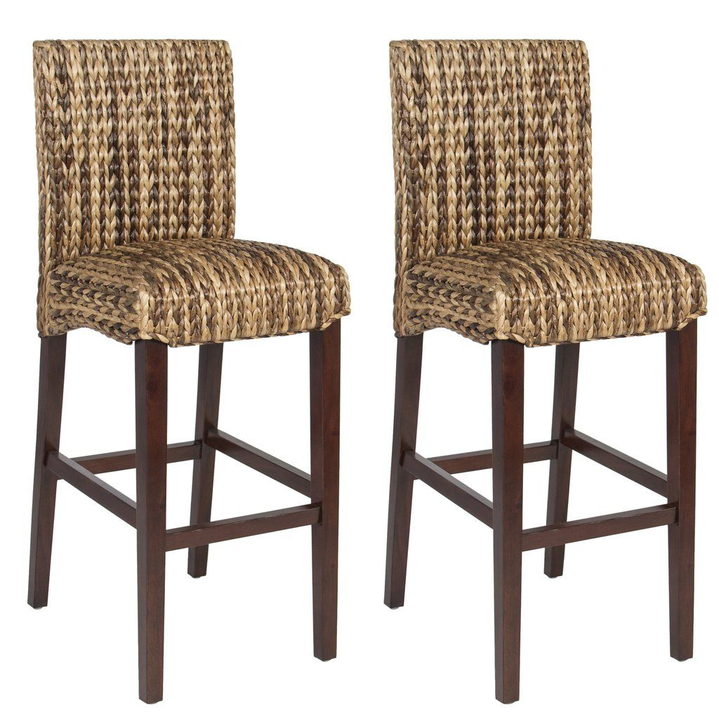 Set Of 2 Woven Seagrass Counter Height Bar Stools W Mahogany Wood