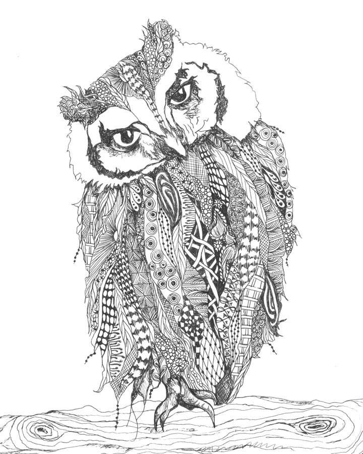 Color this Inquisitive Owl by Crystal Brashear inside the