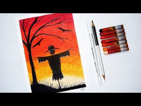 How To Draw Scarecrow Halloween Drawing With Oil Pastels Step