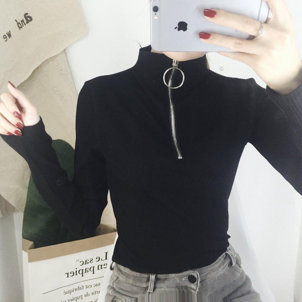 Black Punk Ring Zipper Top SP1811766 #zippertop