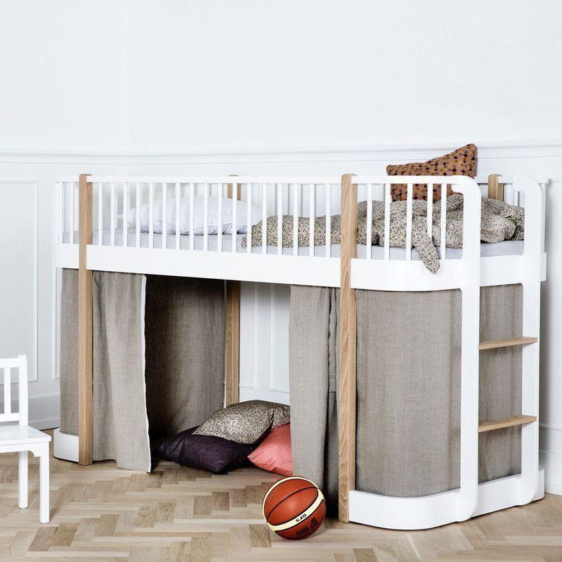 Elegant Oliver Furniture Ausstellungsstück Halbhohes Hochbett Wood Inkl. Vorhang  Eiche 90 X 200 Cm,Hochbetten