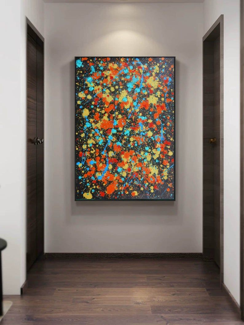 Jackson Pollock Drip Style Paintinglarge Wall Etsy In 2020 Large Wall Paintings Modern Canvas Art Dripping Paint Art